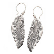 Dangle Leaf Earrings Pure Silver Tribal