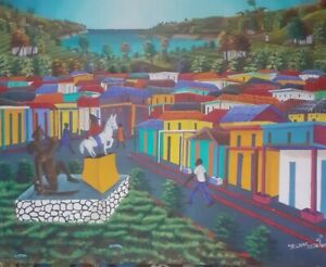 EARLY WORK 24 x 30 byTHE GREAT MASTER JEAN LOUIS SENATUS..LISTED HAITIAN -HAITI