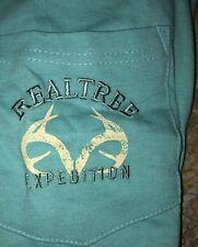 Mens Realtree Expedition Pocket T-shirt fiji blues Logo Size XXl Embroidered