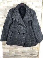 Zara Ladies Size S UK 8/10 Black Check Smart Blazer Jacket Coat
