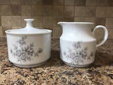 Schirnding Bavaria Porcelain ~ Covered Sugar and Creamer Set Gray Flowers