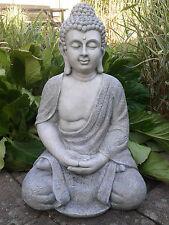 XL Großer Buddha sitzend steingrau Figur Feng Shui Skulptur Lotus ASIA ca. 50 cm