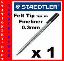 STAEDTLER◉#334 1 x TRIPLUS FINELINER BLACK PEN◉0.3mm FELT TIP◉ART◉DESIGN◉MARKER◉