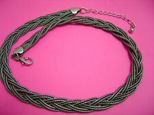 BRAIDED PEWTER CHOKER ECKLACE