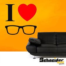 I ♥ GLASSES Wandtattoo Spruch Wandbild Wandaufkleber Sticker LOVE BRILLE BRILLEN