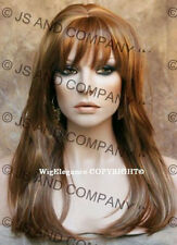 FACE FRAME silky straight WIG Blunt Cut Bangs Strawberry Blonde mix WASR 27-29