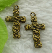Free Ship 140 pieces bronze plated cross charms 23x13mm #2267
