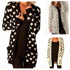 NEW WOMENS HEART PRINT KNITTED CARDIGAN LADIES WINTER JUMPER CAPE PLUS SIZE 8-22