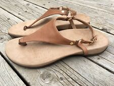VIONIC Kirra Brown Cognac Leather Thong Sandals Flats Size 9W Women's