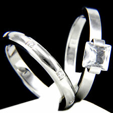 Engagement Ring New Womens Stainless Steel Wedding Band 2.10 Ct Bridal 2 Pc Set