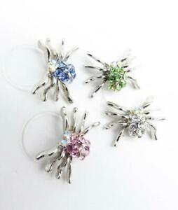 NEW ADORABLE Sparkle Crystals Silver SPIDER Invisible Stretch PETITE Toe Ring