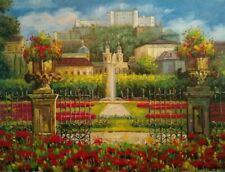 Fine Art Original Artist Signed Colorful Oil Painting European Garden Scene