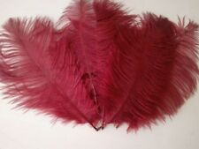 """5 pcs Ostrich Feathers Millinery & Crafts 6-8"""" Deep  Red Burgandy"""