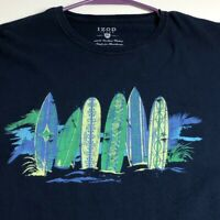 Izod Jeans Men's Short Sleeve T Shirt XL Surfing Surfboards Ocean Crewneck Blue