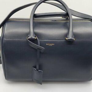Saint Laurent 12 Hour Duffle Navy/Dark Blue Leather Shoulder Bag-NEW