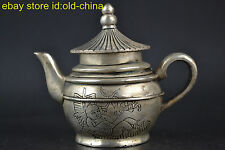 China Collectible Handwork Old Tibet Silver House Lid Decor Teapot Noble