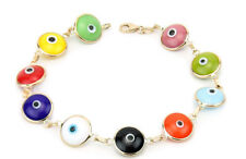 14K Yellow Gold Multi-Colored Evil Eye Bracelet 7.5 Inches