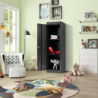 Black Metal Kids Storage School Home Cabinet with Locker & 2Adjustable Shelves