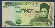 BILLET de BANQUE BOLIVIE - 5 BOLIVIANOS Pick n° 203.b de 1990 en TB   10828239 B