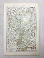 1899 Antik Map Of Bavaria Deutschland Alsace Lorraine Alte 19th Century Original
