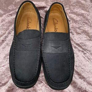VGC Mens Clarks Navy Leather Loafers Size UK 7