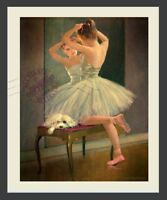 Girl Ballet Dancer Ballerina w Maltese Pup looks in Mirror DELIGHTFUL ART PRINT