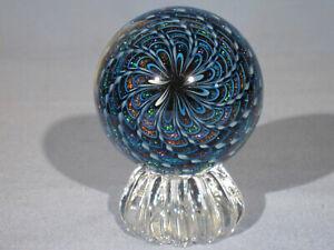 Marbles: Hand Made Art Glass Alloway Dichroic Aquamarine #3125     2.59inch