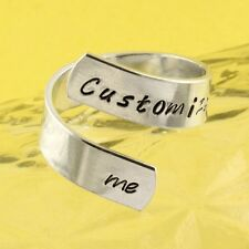 Customize me Wrap Twist Ring Personalized Ring Adjustable Aluminum Ring