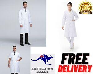 White Lab Coat Men Women Medical Clinic Vet Doctor Scientist Long Sleeve Uniform