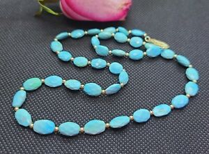 SLEEPING BEAUTY TURQUOISE FACETED OVAL BEADS 14K GOLD NECKLACE NATURAL UNTREATED