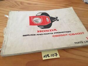 Honda CB250T CB400T CB250 CB400 T 250 400 Piezas Lista Catálogo Pieza Suelta