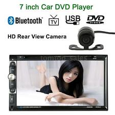 "Bluetooth 7"" 2 DIN Car Stereo DVD CD MP3 Player FM Radio Aux TV With Camera X5Q3"