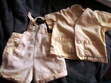 6/12m 1t BOYS Vtg 50s Cotton Playsuit Shirt & Overall Romper Shorts