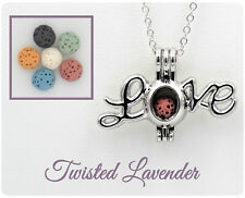 Love Aromatherapy Essential Oil Necklace Diffuser pedant with 6 lava stones!