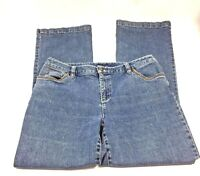 Casual Corner Jeans Womens Size 12 Stretch Rhinestone Pockets Flare   P