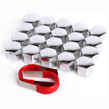 20 PCS 19MM CAR ALLOY WHEEL NUT BOLT COVERS CAPS CHROME SILVER + REMOVAL TOOL