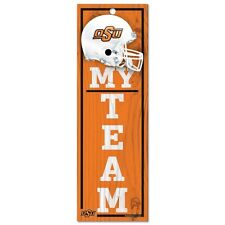 "NCAA Oklahoma State Cowboys My Team  - 4"" x 13"" Wood Type Sign -  New"
