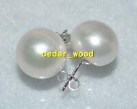HUGE Natural  13-12MM south sea white pearl earrings 14K GOLD