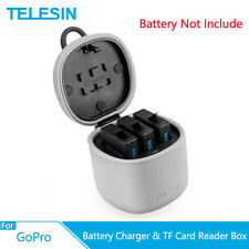 TELESIN 3 Ways Battery Charger TF Card Reader Storage Box For Gopro Hero 7 6 5