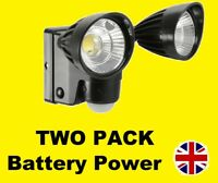 TWO PACK Outdoor Dual 3W LED Bright PIR Security Flood Light Wall Mount Battery