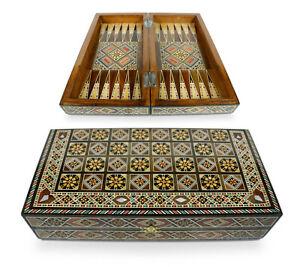 Neu 30 x30 cm Holz Backgammon/Schach,Dama,Brett ,30 Holz  Backgammon Steine inkl