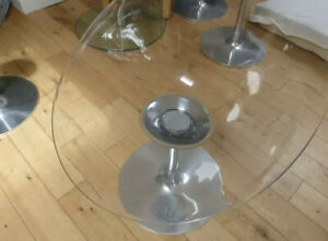Set of 4 Kartell Eros Swivel Chairs Clear Transparent Philippe Starck Genuine