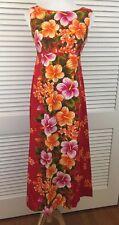 Vintage Ui-Maikai Barkcloth Maxi Dress With Waterfall Pleat Hawaiian 60s Boho