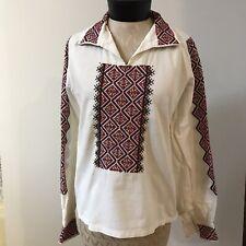 Antique UKRAINIAN FOLK SHIRT BLOUSE SLAVIC WHITE RED Embroidery Unisex