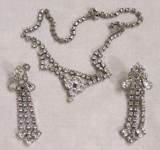 Vintage Jewelry La Rue Signed Demi Parure Necklace & Dangle Earrings Rhinestones