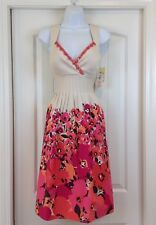NWT Sangria Ivory Pink Black Slveless Sequin Surplice Bodice Sz 10 Floral Dress