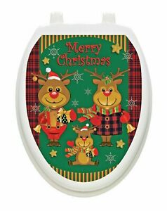 Reindeer Family Toilet Tattoos Vinyl Lid Cover to Decorate your Bathroom Removab