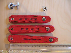 Bellows strap clasp Red Leather 3 sizes -centres -90,100,110 mm Italcinte italy