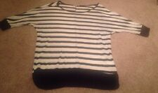 Charlotte Russe Blue and White Stripe Sweater Top Sz L