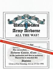U.S. Airborne Course Jump School Wings Certificate Card Us Army Navy and Marines